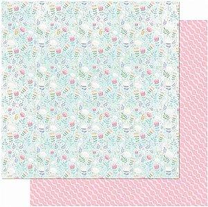 Papel Para Scrapbook Dupla Face 30,5 cm x 30,5 cm – FLORZINHAS FUNDO AZUL/LINHAS SD-992