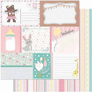 Papel Para Scrapbook Dupla Face 30,5 cm x 30,5 cm – Tags Bebê Feminino Verso Listras SD-989