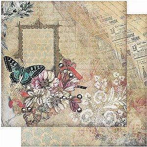 Papel Para Scrapbook Dupla Face 30,5 Cm X 30,5 Cm – Borboleta, Flores Vintage SD-942