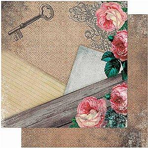 Papel Para Scrapbook Dupla Face 30,5 Cm X 30,5 Cm – Rosas Vintage SD-938