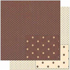 Papel Para Scrapbook Dupla Face 30,5 Cm X 30,5 Cm – Poá, Fundo Marrom SD-930