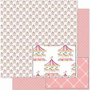 Papel Para Scrapbook Dupla Face 30,5 Cm X 30,5 Cm- Estampa De Carrossel SD-923