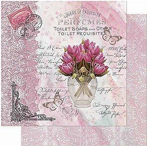 Papel Para Scrapbook Dupla Face 30,5 cm x 30,5 cm - Flores e Rendas SD-949