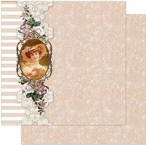 Papel Para Scrapbook Dupla Face 30,5 cm x 30,5 cm -  Padrão Rosas Vintage SD-970