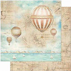 Papel Para Scrapbook Dupla Face 30,5 Cm X 30,5 Cm- Naval Balão De Ar Quente SD-889