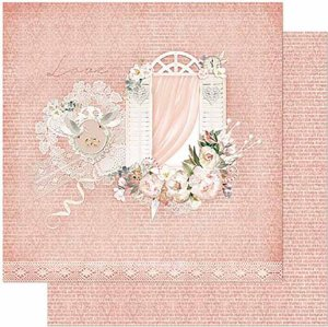 Papel Para Scrapbook Dupla Face 30,5 Cm X 30,5 Cm- Janelas, Flores Fundo Rosa SD-860