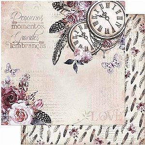 Papel Para Scrapbook Dupla Face 30,5 Cm X 30,5 Cm- Relógios, Flores, Penas SD-857