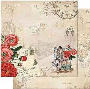 Papel Para Scrapbook Dupla Face 30,5 Cm X 30,5 Cm- Moça Viajante E Flores Vermelhas SD-856