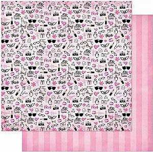 Papel Para Scrapbook Dupla Face 30,5 Cm X 30,5 Cm- Padrão Feminino, Óculos, Perfume SD-850