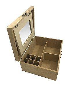 Caixa Maquiagem Mdf Com Espelho Divisórias Dobradiça Fecho