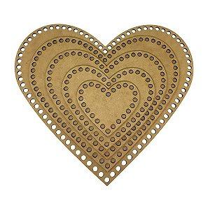 Kit De Base De Mdf Para Crochê Coração Com 5 Tamanhos