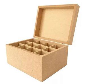 Caixa De Batom Pequeno 12 Divisórias Porta Mdf Crú Dobradiça