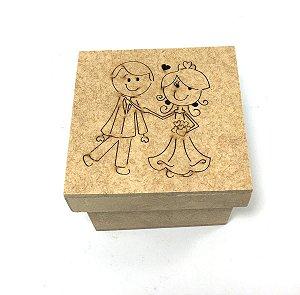 Caixa Noivinhos 7x7x5 Mdf - Lembrança Casamento - Kit Com 10