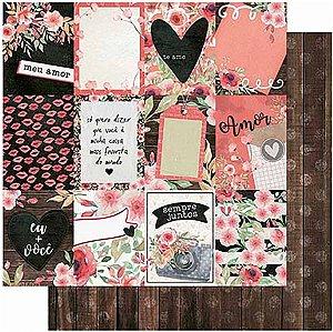 Papel Para Scrapbook Dupla Face 30,5 cm x 30,5 cm – Amor Love Story Tags-Verso Madeira Ripada SD-1008