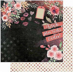 Papel Para Scrapbook Dupla Face 30,5 cm x 30,5 cm – Amor Love Story Flores-Verso Poá SD-1009