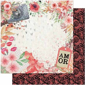 Papel Para Scrapbook Dupla Face 30,5 cm x 30,5 cm – Amor Love Story Flores Máq. Fotográfica SD-1010