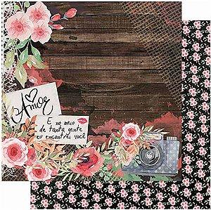 Papel Para Scrapbook Dupla Face 30,5 cm x 30,5 cm – Amor Love Story Flores Máq.Fotográfica SD-1011