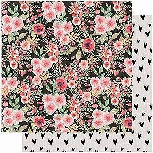 Papel Para Scrapbook Dupla Face 30,5 cm x 30,5 cm – Amor Love Story Estampa Flores SD-1012