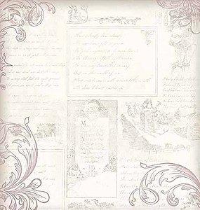 Papel Para Scrapbook Dupla Face 30,5 Cm X 30,5 Cm- Flores Roxas E Arabescos SD-918