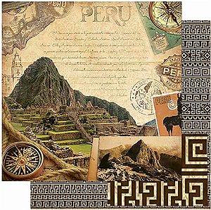Papel Para Scrapbook Dupla Face 30,5 Cm X 30,5 Cm- Machu Picchu – Peru Vintage SD-796