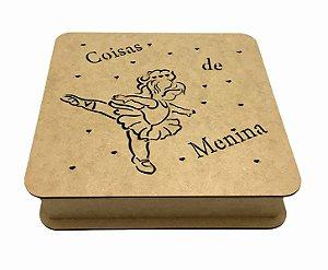 Caixa Mdf Coisas De Menina 25x25x6 cm Dobradiça e Borda