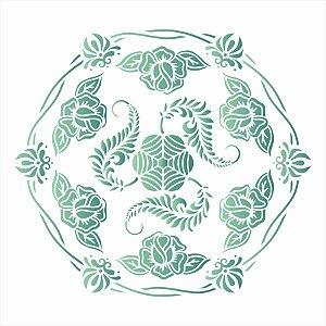 Stencil de Acetato para Pintura OPA Simples 30,5 x 30,50 cm - 2637 Mandala Cipó