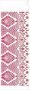 Stencil de Acetato para Pintura OPA Simples  10 x 30 cm - Negativo Renda V 2619