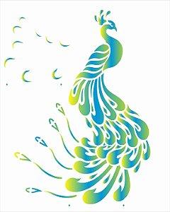 Stencil de Acetato para Pintura OPA Simples  20 X 25 cm - Animais Pavão 2629