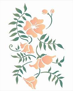 Stencil de Acetato para Pintura OPA Simples  20 x 25 cm - Ramo Floral 2634