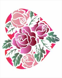 Stencil de Acetato para Pintura OPA Simples  20 x 25 cm - Coração Rosas 2630