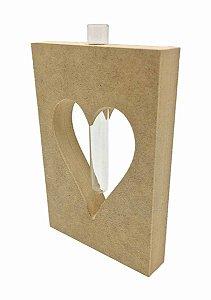 Coração MDF Decorativo Mesa Com Tubete Vidro