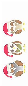 Stencil de Acetato para Pintura OPA 10×30 Simples – Corujas de Gorro – OPA 1111