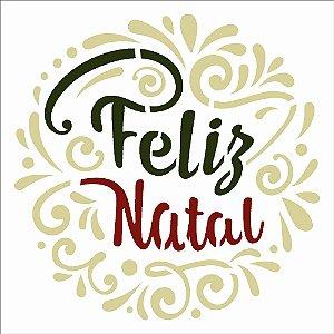 Stencil de Acetato para Pintura OPA 14×14 Simples – Frase Feliz Natal Lettering – OPA 2549