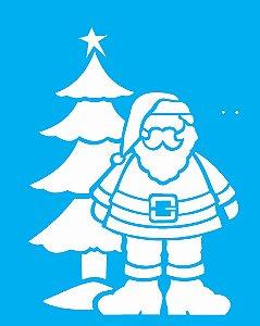 Stencil de Acetato para Pintura OPA 20×25 Simples – Papai Noel e Árvore – OPA 1119