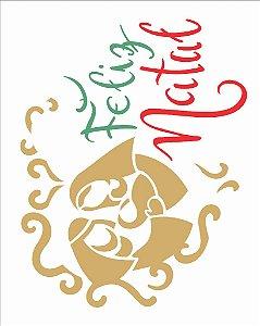 Stencil de Acetato para Pintura OPA 20×25 Simples – Feliz Natal II – OPA 2312