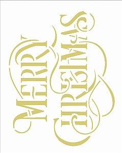 Stencil de Acetato para Pintura OPA 20×25 Simples – Frase Merry Christmas – OPA 2556