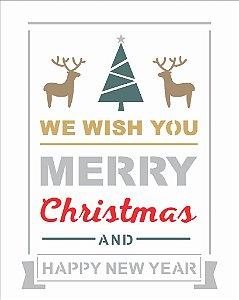 Stencil de Acetato para Pintura OPA 20×25 Simples – Frase Merry Christmas II – OPA 2557