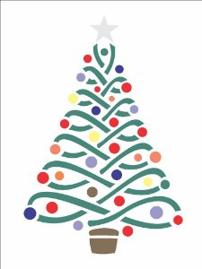 Stencil de Acetato para Pintura OPA 15×20 Simples – Árvore e Bolas – OPA 1113