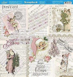 Papel Para Scrapbook Dupla Face 30,5 cm x 30,5 cm - SDN-111 - Scrap Duplo Natal - Vintage Rosa