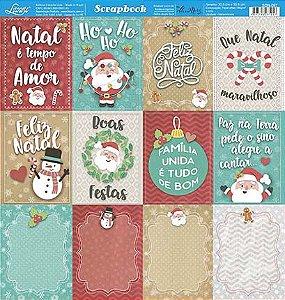 Papel Para Scrapbook Dupla Face 30,5 cm x 30,5 cm - SDN-097 - Scrap Duplo Natal - Tags De Natal