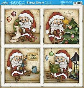 Papel Para Scrapbook Dupla Face 30,5 cm x 30,5 cm - SDN-084 - Scrap Duplo Natal - Papai Noel Pequeno Em Quadros..
