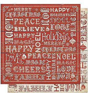 Papel Para Scrapbook Dupla Face 30,5 cm x 30,5 cm - SDN-067 - Scrap Duplo Natal -Tipografia /Madeira Vermelha