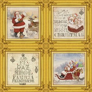 Papel Para Scrapbook Dupla Face 30,5 cm x 30,5 cm - SDN-066 - Scrap Duplo Natal - Papai Noel/Madeira Vermelha