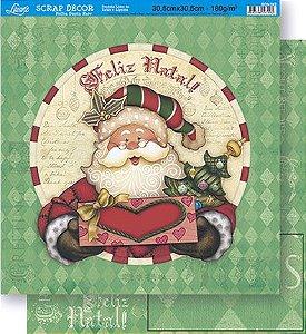 Papel Para Scrapbook Dupla Face 30,5 cm x 30,5 cm - SDN-062 - Scrap Duplo Natal - Papai Noel/Lozangos Verdes
