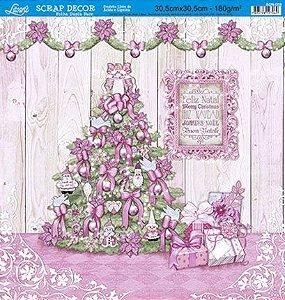 Papel Para Scrapbook Dupla Face 30,5 cm x 30,5 cm - SDN-058 - Scrap Duplo Natal - Árvore De Natal/Arabescos