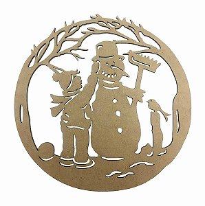 Guirlanda MDF Boneco de Neve Natal Decoração 21x21 cm
