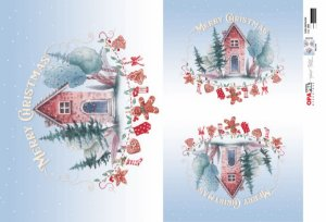 Papel para Decoupage de Natal Opa Opapel – 2809 – Casa Natalina