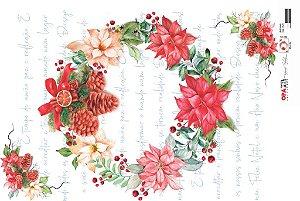 Papel para Decoupage de Natal  OPAPEL 30X45 Guirlanda – 2541