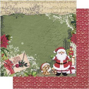 Papel Para Scrapbook Dupla Face 30,5 cm x 30,5 cm - SDN-124 - Scrap Duplo Natal - Feliz Natal, Papai Noel, Carta, Laço