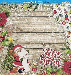 Papel Para Scrapbook Dupla Face 30,5 cm x 30,5 cm - SDN-123 - Scrap Duplo Natal - Feliz Natal,Papai Noel, Árvore, Madeira
